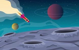 astronave che esplora l'illustrazione del pianeta di fantasia di fantascienza vettore