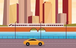 scena di una grande città con fiume e illustrazione dei treni vettore