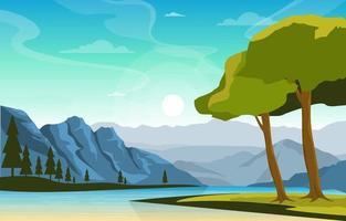 scena di paesaggio mattutino con fiume, foresta e colline vettore