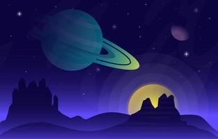 superficie del paesaggio di fantascienza fantasy pianeta illustrazione