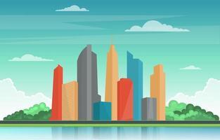 skyline della città con parco, alberi e illustrazione del fiume vettore