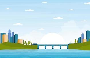 skyline della città con fiume, sole e ponte vettore