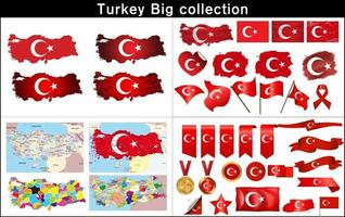Mappa di Turchia con set di bandiera vettore