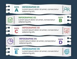 infografiche aziendali. timeline con 5 passaggi o opzioni