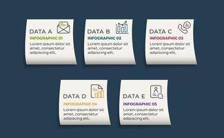 modello di progettazione etichetta infografica vettoriale con icone e 5 opzioni o passaggi