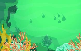 scena subacquea con illustrazione di pesce e barriera corallina