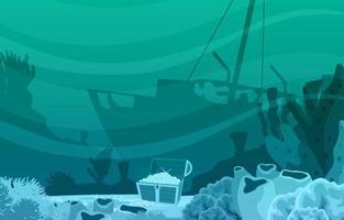 scena subacquea con nave affondata, scrigno del tesoro e illustrazione della barriera corallina