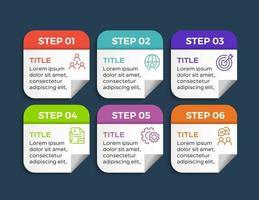 infografiche aziendali. timeline con 6 passaggi o opzioni