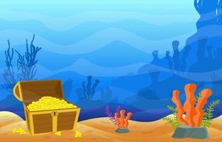 scena subacquea con scrigno del tesoro, ancora e illustrazione della barriera corallina