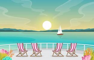 ponte della nave da crociera con alba e illustrazione dell'orizzonte dell'oceano
