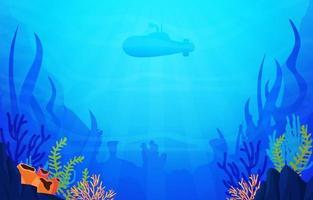 scena subacquea con illustrazione di sottomarino, pesce e barriera corallina