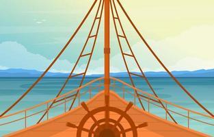 ponte della nave del capitano con ruota di navigazione e illustrazione dell'orizzonte dell'oceano
