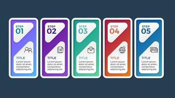 modello di presentazione aziendale infografica con 5 opzioni. illustrazione vettoriale