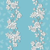 Modello senza cuciture di rose da giardino in fiore bianco su sfondo blu morbido