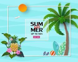 sfondo di vendita estiva con fiori tropicali e foglie per banner vettore