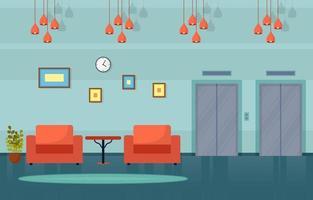 lobby dell'hotel moderno con illustrazione di mobili