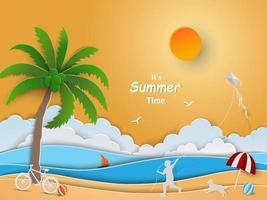 disegno di arte di carta con il concetto di ora legale, bambino felice che gioca con l'aquilone sulla spiaggia vettore