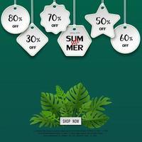 banner modello di vendita estiva di arte di carta con foglie tropicali