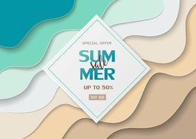 banner di vendita estiva su carta tagliata mare e sfondo spiaggia