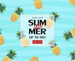 modello di banner di vendita estiva con ananas per poster
