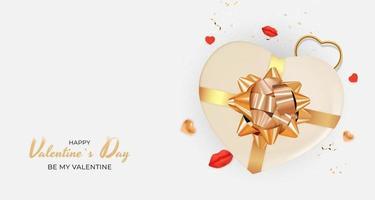 sfondo bianco di San Valentino con confezione regalo a forma di cuore