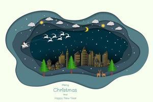 buon natale e felice anno nuovo, stile art paper con babbo natale che viene in città in una notte d'inverno