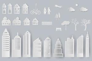 insieme di edifici, case, alberi oggetti isolati per il design in stile taglio carta