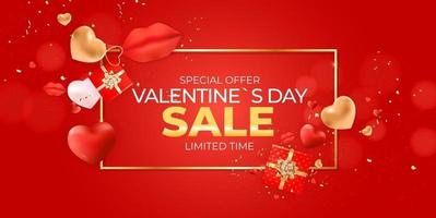 banner di vendita di san valentino con cornice dorata