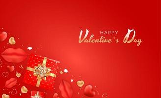 banner di San Valentino su sfondo rosso