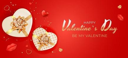 sfondo rosso di San Valentino con confezione regalo a forma di cuore