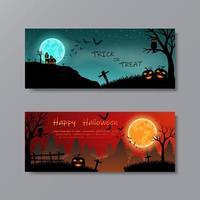 set di felice halloween con la luna piena per la festa vettore
