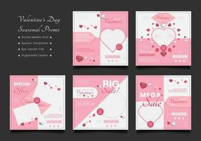 set di modelli di offerta stagionale banner quadrato di san valentino