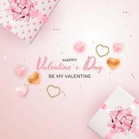 banner quadrato di San Valentino su sfondo rosa