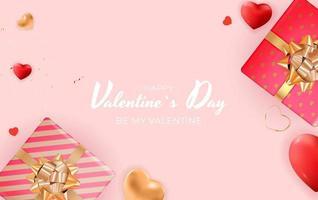 banner di San Valentino con confezione regalo