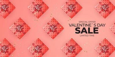 design di banner di vendita di san valentino con confezione regalo realistica