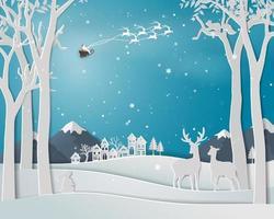 famiglia di cervi nella stagione invernale con il paesaggio urbano della città su sfondo di arte di carta per le vacanze di Natale e felice anno nuovo
