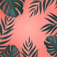 foglie di palma tropicali verdi realistiche naturali su sfondo rosa