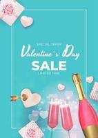 Fondo della carta regalo di festa di vendita di San Valentino, design realistico. modello per pubblicità, web, social media e annunci di moda.