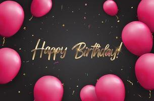 colore lucido buon compleanno palloncini banner sfondo vettore