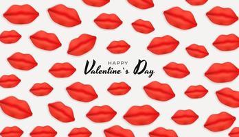 design di San Valentino con labbra realistiche su sfondo bianco
