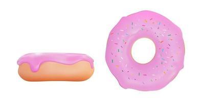 ciambella dolce e gustosa realistica 3d con glassa alla fragola rosa. illustrazione vettoriale