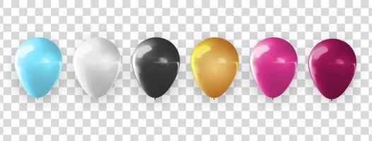 raccolta di palloncini 3d realistici per feste, vacanze. illustrazione vettoriale