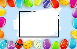 modello di poster di Pasqua con uova di Pasqua realistiche 3d e vernice. modello per pubblicità, poster, flyer, biglietto di auguri. illustrazione vettoriale
