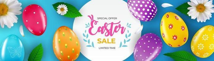 modello del manifesto di vendita di Pasqua con uova di Pasqua realistiche 3d e vernice. modello per pubblicità, poster, flyer, biglietto di auguri. illustrazione vettoriale.