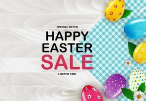 modello di poster di Pasqua con uova di Pasqua realistiche 3d. modello per pubblicità, poster, flyer, biglietto di auguri.