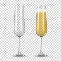 vetro dorato champagne realistico 3d isolato. illustrazione vettoriale