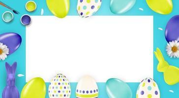 modello di poster di Pasqua con uova di Pasqua realistiche 3d con cornice vuota