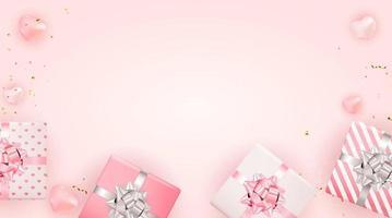 disegno di sfondo di San Valentino. modello per pubblicità, web, social media e annunci di moda. poster orizzontale, flyer, biglietto di auguri, intestazione per illustrazione vettoriale sito Web