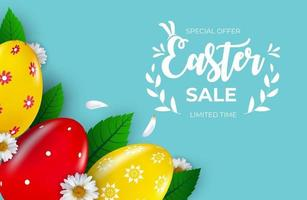 modello del manifesto di vendita di Pasqua con uova di Pasqua realistiche 3d con testo