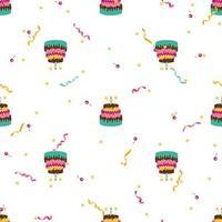 compleanno carino seamless pattern di sfondo con torta, candele. elemento di design per invito a una festa, congratulazioni. illustrazione vettoriale eps10